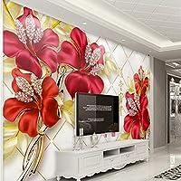 Sproud 壁紙ヨーロッパのエレガントな雰囲気の赤い花柄の花柄ダイヤモンドステレオ背景リビングルームベッドルームの装飾 350 Cmx 245 Cm