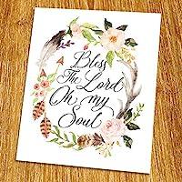 Psalm 103 Bless the Lord oh my soul Print (Unframed) Watercolor Flower Scripture Print Bible Verse Print Christian Wall Art Living Room Decor 8x10 TC-037 [並行輸入品]
