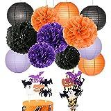 ハロウィン 飾り  Halloween パーティー 飾り セット コウモリ パンプキン 飾り ペーパーポンポン 紙提灯  オレンジ ブラック パープル 紙ストロー ケーキトッパー