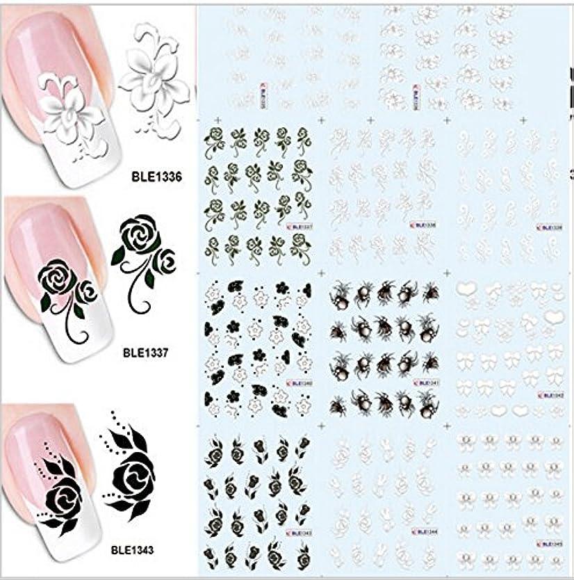 同封する忘れられない腹部SUKTI&XIAO ネイルステッカー 1ブラックホワイトフラワー水転写デカールネイルステッカーホイルラップDiyの装飾で11のデザイン