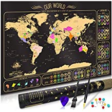 """Scratch Map Scratch Off World Travel Map Scratch Off Different Vibrant Colors For Every Country USA & Australian State Premium Quality Travel & Christmas Gift 24"""" x 36"""" Scratching Tools Included"""