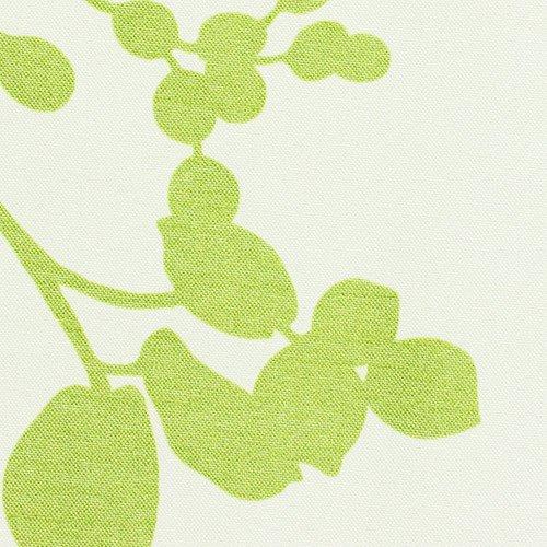 ナチュラルなリーフ柄完全遮光 防音カフェカーテン「リール」 グリーン【幅50cm 丈40cm】(フラット・タイプ)