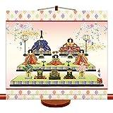ミニ掛け軸 桃の節句 段飾り雛 モダン節句飾り 幅44cm×高さ39cm