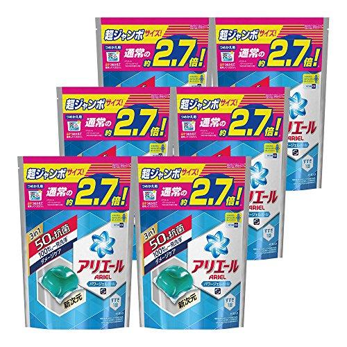 『【ケース販売】 アリエール 洗濯洗剤 液体 パワージェルボール 詰め替え 超お得サイズ 940g (48個入り)×6個』のトップ画像