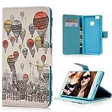 エルメス 財布 ピンク 【Badalink】Huawei P9 lite ケース 手帳型 スタンド機能付 カードポケット付き 財布型 上絵 高級PUレザーマグネット式 スマホケース 熱気球