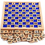 Amersin Wooden Toys Hundred Board Montessori 1-100 Consecutive Numbers Early Childhood Toys Digital Board for Kids with Storage Bag