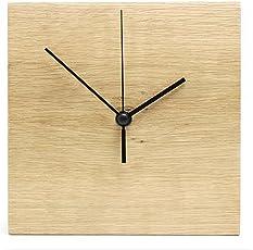 【高品質/天然オーク使用】木製 掛け時計 1枚板 連続秒針 シンプル ウォールクロック