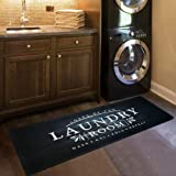 "USTIDE Black Laundry Room Rug Nonslip Rubber Backed Laundry Floor Mat Waterproof Kitchen Runner 20""x48""Black Wood Laundry"