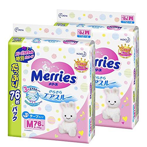 【Amazon.co.jp限定】(ケース販売) メリーズ テープ Mサイズ(6~11kg) さらさらエアスルー 152枚 (76枚×2)