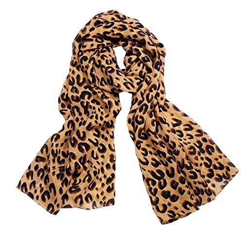 JewelryWe 大切な人や,彼氏・彼女へのプレゼント:ファッション アクセサリー さらさら レディース スカーフ アニマル柄 ストール ヒョウ柄 豹柄 [ギフトバッグを提供]