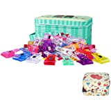 ONETWOSHARE Sewing Clips, Quilting Supplies 100PCS Multipurpose Plastic Clips with Tin Box for Crafting, Crochet and Knitting