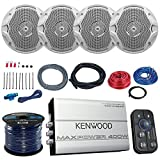 Marine Amp And Speaker Combo Of 4x JBL MS6510 6.5 Inch 150w White Boat Speakers Bundle With Kenwood 400-Watt 4-Ch. Waterproof Bluetooth Amplifier + Boss KIT2 Amp Install Kit + Enrock 50Ft 16g Wire by EnrockMarineBundle