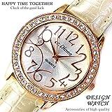 大人可愛いレディース腕時計 ラウンドフェイス クロコ型押し パールホワイト 白 ベルトウォッチ 白 [tvs303-lady]