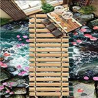 Mingld 注文の壁紙3Dの床の壁画の木の橋および流れる水床壁の壁画の浴室の防水自己接着壁紙-200X140Cm
