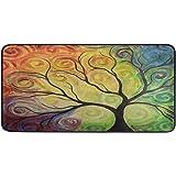 Yulife Colorful Rainbow Tree of Life Kitchen Mat Rug Autumn Spring Summer Branch Comfort Floor Mat Non Slip Doormat Indoor Ou