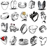 20 Pcs Open Rings Frog Leaf Chain Adjustable Ring for Women Men Girls Punk Vintage Stackable Ring Sets