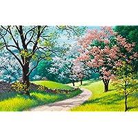 美しい絵画、春、花、木、草、道路 キャンバスの 写真 ポスター 印刷 旅行 風景 景色 - (105cmx70cm)