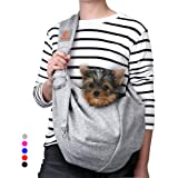 TOMKAS Small Dog Cat Carrier Sling Hands Free Pet Puppy Outdoor Travel Bag Tote Reversible(Grey - unadjustable Strap for 3-10