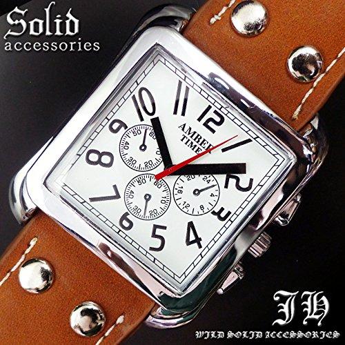 メンズ 腕時計 ウォッチ スクエアフェイス 合皮 合革 ベルト ブラウン 茶色 白 見やすい 文字盤[tvs290-men]