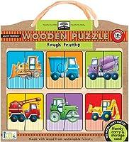 InnovativeキッズグリーンStart Wooden Puzzles : Tough Trucks ( 18mos + )パズル