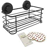 Gecko-Loc Deep Shower Shelf Caddy Storage Basket Shampoo Conditioner Holder w Vacuum Suction Cups No Hooks No Drilling - Spon