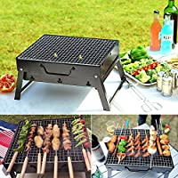 Charcoal BBQ Grill Folding Portable Stainless Steel Barbecue Grill for Outdoor Camping Cookouts (13.8 x 10.6 x 7.7) [並行輸入品]