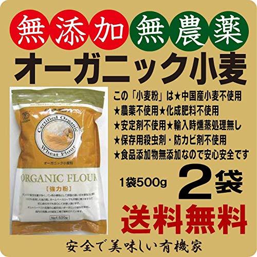 無添加オーガニック小麦粉・強力粉500g×2個★★★レターパック青★タンパク質12%★強力粉★オーガニック小麦粉★無農薬・無添加