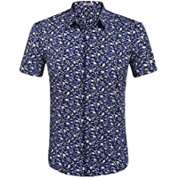 HOTOUCH Men's Floral All Over Print Short Sleeve Button Up Shirt