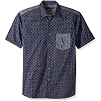 French Connection Mens Short Sleeve Printed Regular Fit Button Down Shirt Short Sleeve Button Down Shirt - Blue