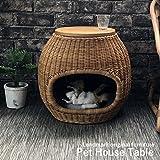 ペットハウス サイドテーブル 籐家具 猫ちぐら ベッド ハウス ドーム 犬ベッド 犬小屋 室内 小型犬 GK135MER