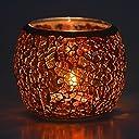 キャンドルホルダー キャンドルスタンド ボールカップ 手作り モザイクガラス製 ステンドグラス アンティーク 置物 インテリア 照明 ティーライト用 (琥珀色)