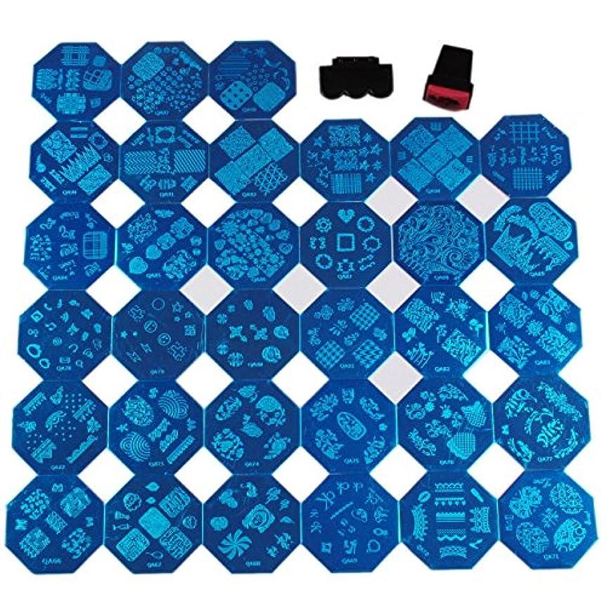 広範囲に少数シードFingerAngel ネイルイメージプレートセット 八角形ネイルプレート 33枚 スタンプ スクレーパー付き ネイルサロンも自宅も適用なネイルプレート 初心者に簡単に仕上がるネイルアート