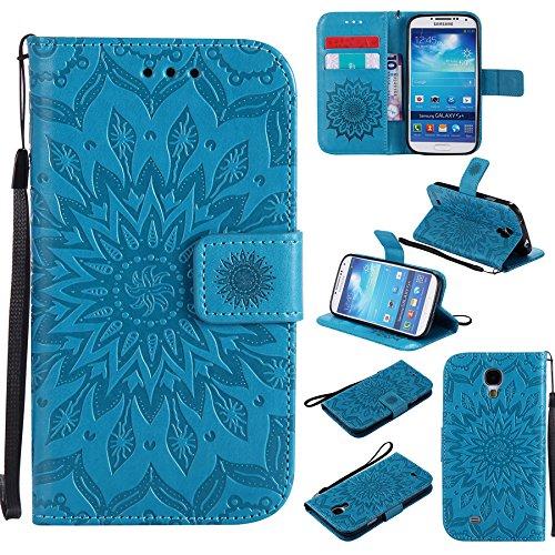 Ooboom Samsung Galaxy S4 ケース ひまわり パターンレザー 便利な保護 フリップ 手帳型 横開き カバー 革 高級PU マグネット式ド収納 スタンド機能 財布型 カバー リストストラップ ために Samsung Galaxy S4 - 青