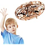 Hand Operated Drones,Hands Free Mini Drone Helicopter, Easy Indoor UFO Flying Ball Drone Toys for Kids or Adults,Gold