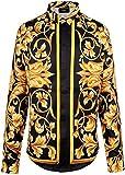 (ピゾフ)Pizoff メンズ シャツ 襟付 長袖 ブラック 金色花柄 プリント 欧米人気 ファッション おしゃれ ストリート系 豪華 ヒップホップ モード 原宿系 カジュアル 快適 トップス ワイシャツ Y1706-10-2XL