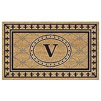 Nedia Home Super Scraper Bungalow Vinyl Coir Doormat Monogrammed V 18 x 30 [並行輸入品]