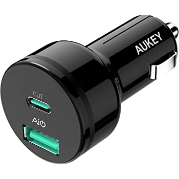 AUKEY カーチャージャー 39W USB Type-C Power Delivery搭載 + USB-A AiPower USB充電器 スマホ充電器Google Pixel 2/XL MacBook iPhone XS/Max/XR/X/Nintendo Switch タブレットなど対応 CC-Y7