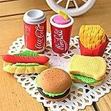Liebeye 消しゴム かわいい模造フードイレーザーハンバーガーフレンチフライホットドッグサンドイッチ消しゴム事務所の修理用品学生用 6個/パック ランダム出貨