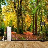 Xbwy カスタム壁画壁紙緑の森自然風景壁絵画リビングルームレストランカフェの背景壁の装飾-280X200Cm