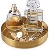 FREELOVE Gold Serving Tray, 5 in. Round Tray Stainless Steel Platter Bathroom Sink Vanity Trays Cosmetics Jewelry Organizer T
