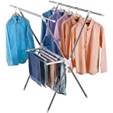 Hershii 2-Tier Clothes Drying Rack X Shape Collapsible Clothes Airer with Towels/Shoes Storage Shelves for Indoor Laundry Roo