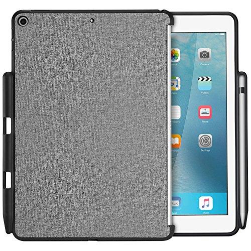 ProCase iPad 9.7 ケース 保護ケース バックカバー Appleペンシルホルダー付き iPad 9.7 インチ 2018 iPad 第六世代/2017 iPad 第五世代 専用 Appleスマートカバーに対応 -グレー