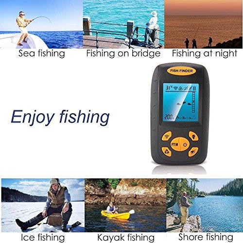 魚群探知機 ポータブル魚探 釣り道具 (黒)