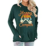 Womens Happy Camper Long Sleeve Tunic Shirt Letter Print Casual Pullover Tops