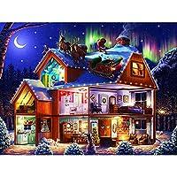 ZDDYX 5DダイヤモンドペインティングクリスマスイブDIYダイヤモンド刺繍風景クロスステッチホームデコレーションクリスマスギフト リビングルームの寝室のアートギフト40X50CM