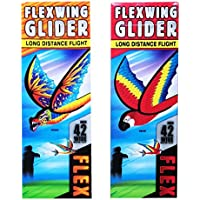 Flexwing Glider Dragon and Macaw Parrot | 1ドラゴンと1 Macaw Parrot 42インチカラフルデザイン| UniqueギフトおもちゃFlying Gliders for Kids