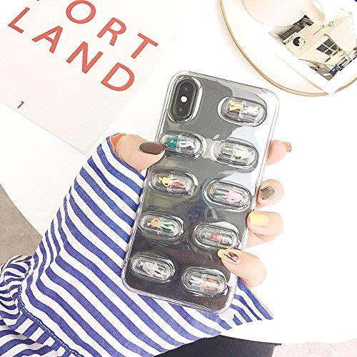 HOUOUHI 人気 iphone8 ケース iphone7 個性 カプセル 小さな人形 クリア i...