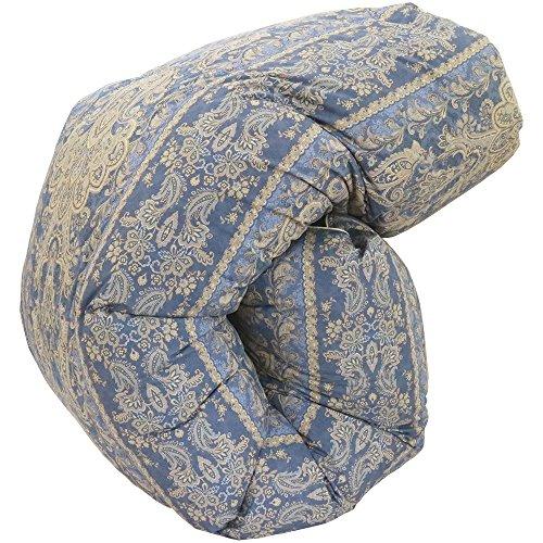 日本製 羽毛 布団 シングル 150×210 9501柄 ブルー ポーランド産 マザー ダウン 93% 増量タイプ1.5kg入り ...
