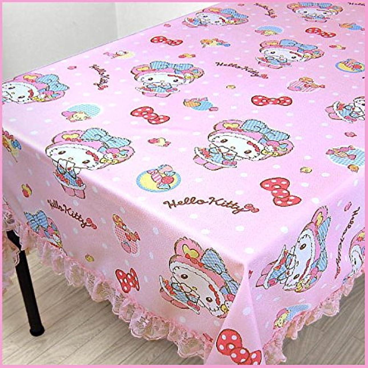 確執生き物全く[Sanrio商品] サンリオ ハローキティ くまくまキャンディ (梨地) 撥水 テーブルクロス 145×180cm