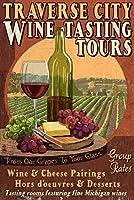 Traverse City、ミシガン州–Wine Tasting Vintage Sign 12 x 18 Art Print LANT-43924-12x18